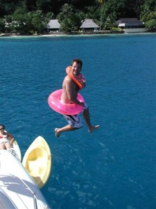 2006 – Greg jumping off the sailboat in Tahiti.